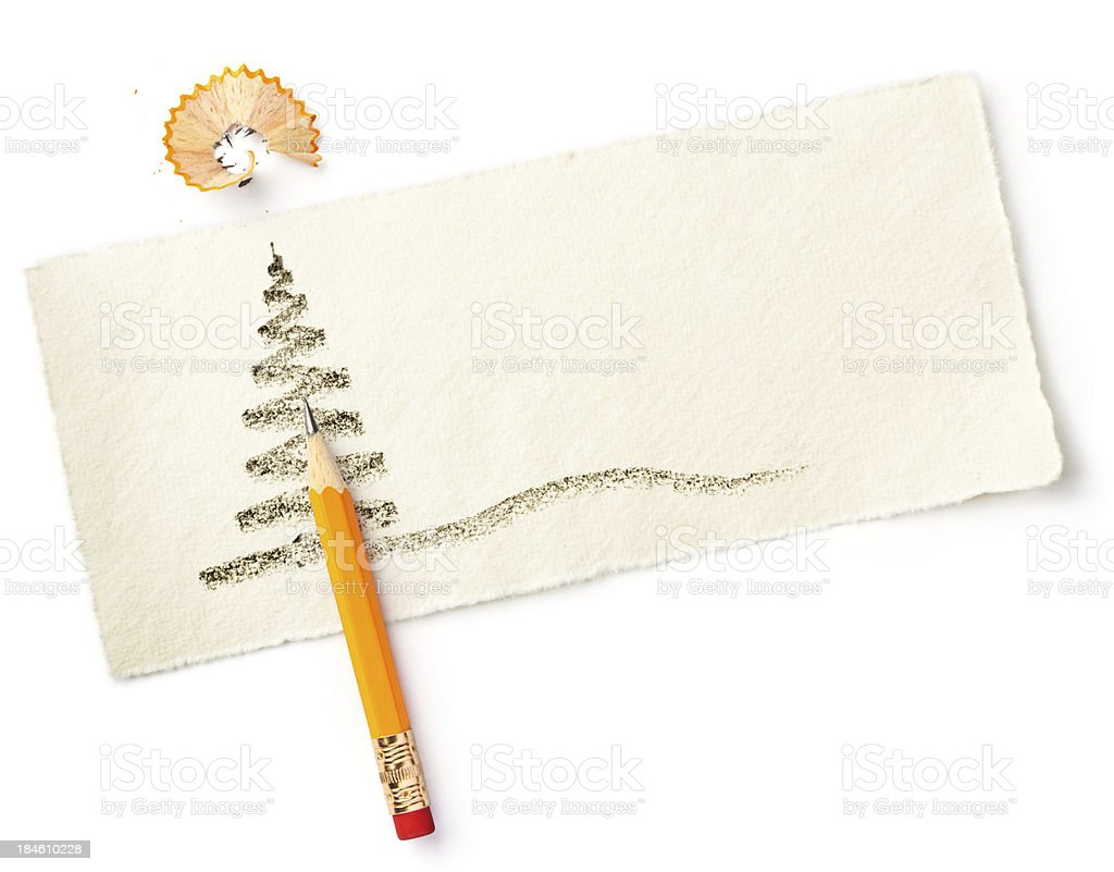 Christmas Tree Sketch with Pencil stock photo