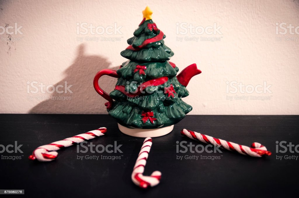 Christmas tree sorrounded by candy canes stock photo