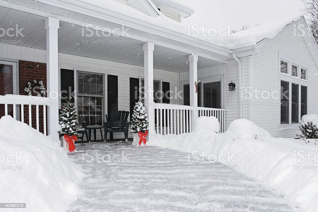 Christmas Tree Suburban Home Front Walkway royalty-free stock photo