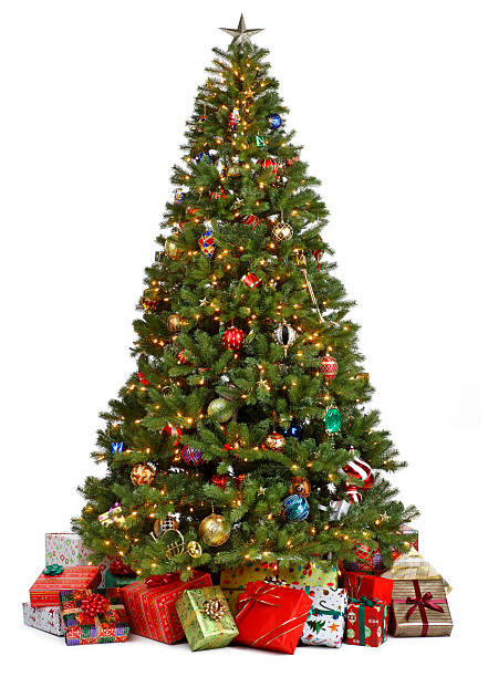 Christmas tree surrounded by presents on white background Christmas Tree decorated on white background. Presents underneath the tree. christmas tree stock pictures, royalty-free photos & images