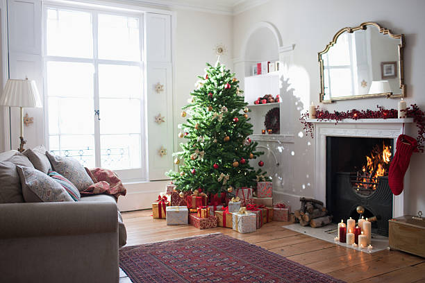 christmas tree surrounded with gifts - christmas tree bildbanksfoton och bilder