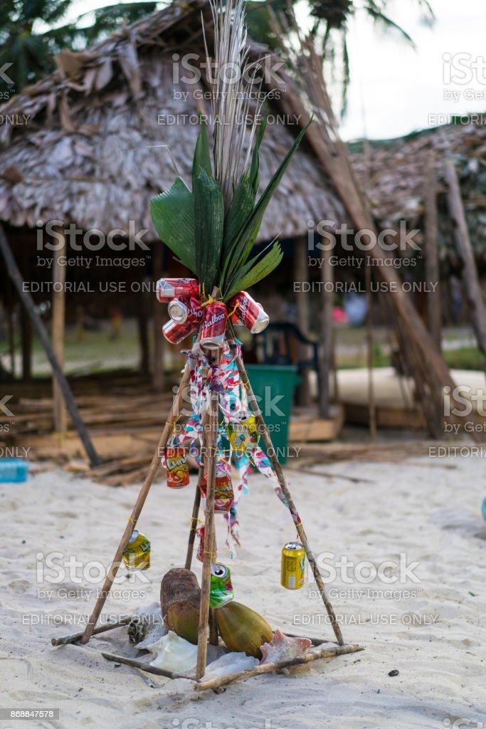 Christmas tree the the Isla de Perro Island in Caribbean See, Panama stock photo