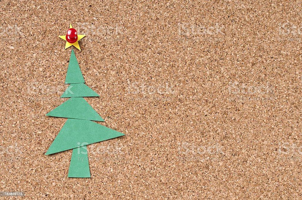 Christmas Tree to Cork Bulletin Board royalty-free stock photo
