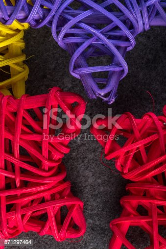 istock Christmas tree toys - colored vine stars. New year and x-mas theme mockup 871297464