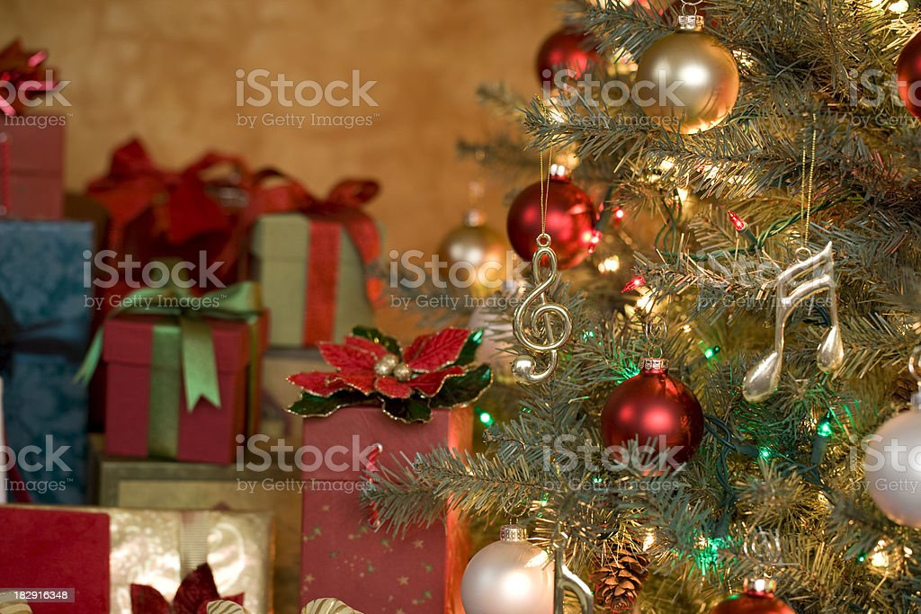 Christmas Tree with a Musical Theme stock photo