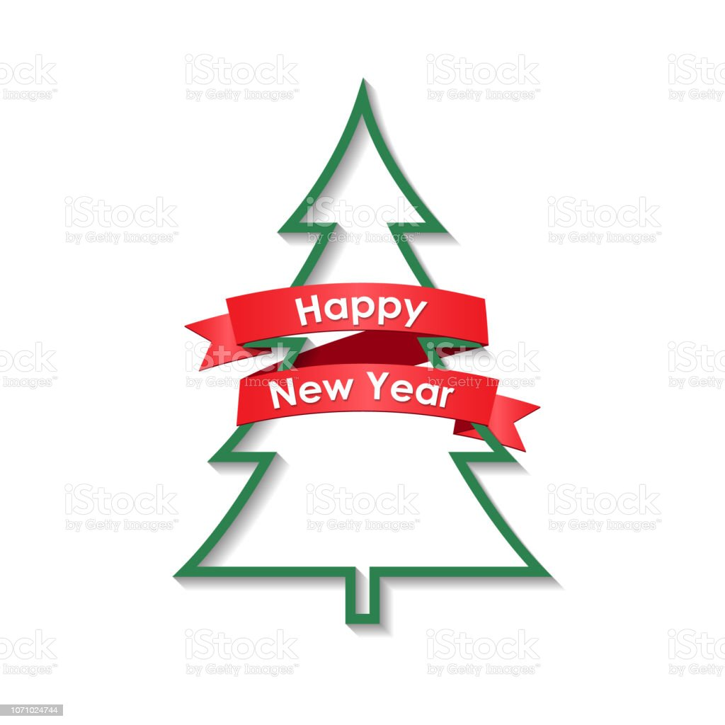 Christmas tree with a ribbon - foto stock