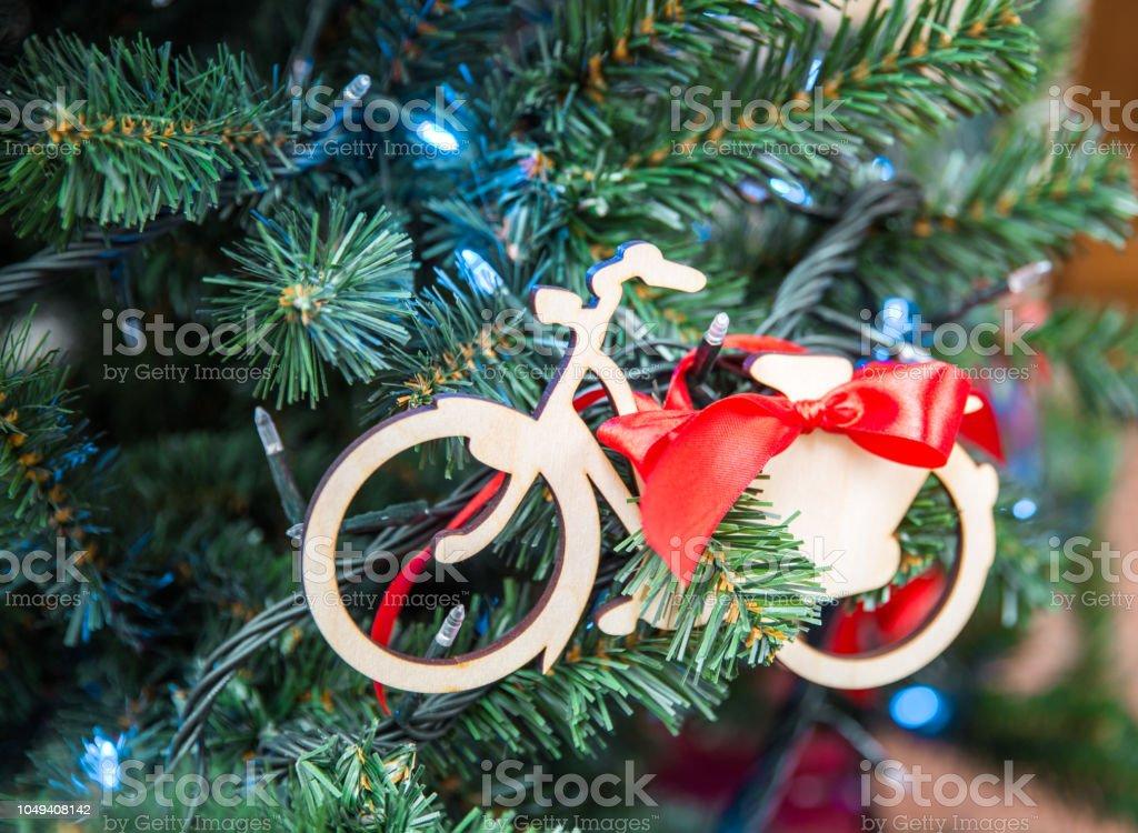 Christmas tree with bike stock photo
