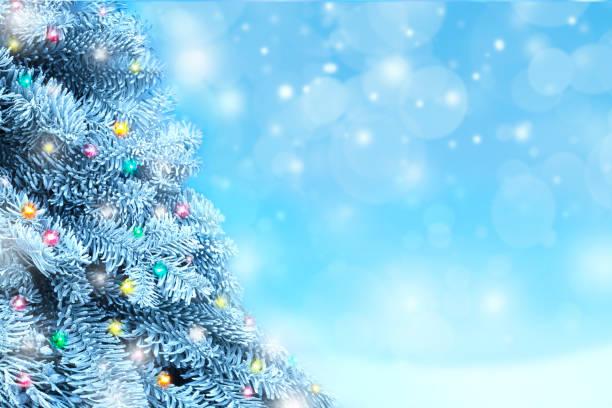 Weihnachtsbaum mit verschwommenen Lichtern im Hintergrund – Foto