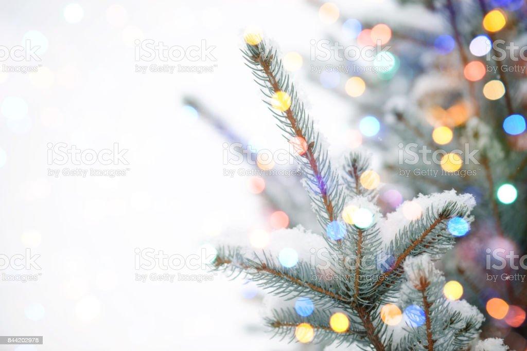 Christmas Tree with bokeh light stock photo