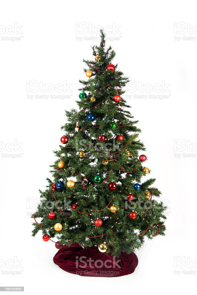 Christmas Tree With Colored Ornaments And Burgundy Skirt Stock Photo Download Image Now Istock