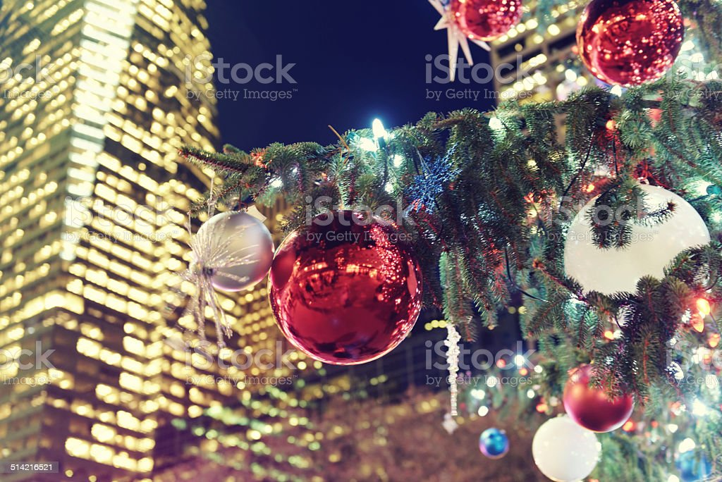 Christmas tree with decoration, Bryant Park,New York City stock photo