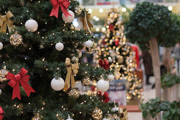 Christmas tree with decorations at shopping center Olympia stock photo