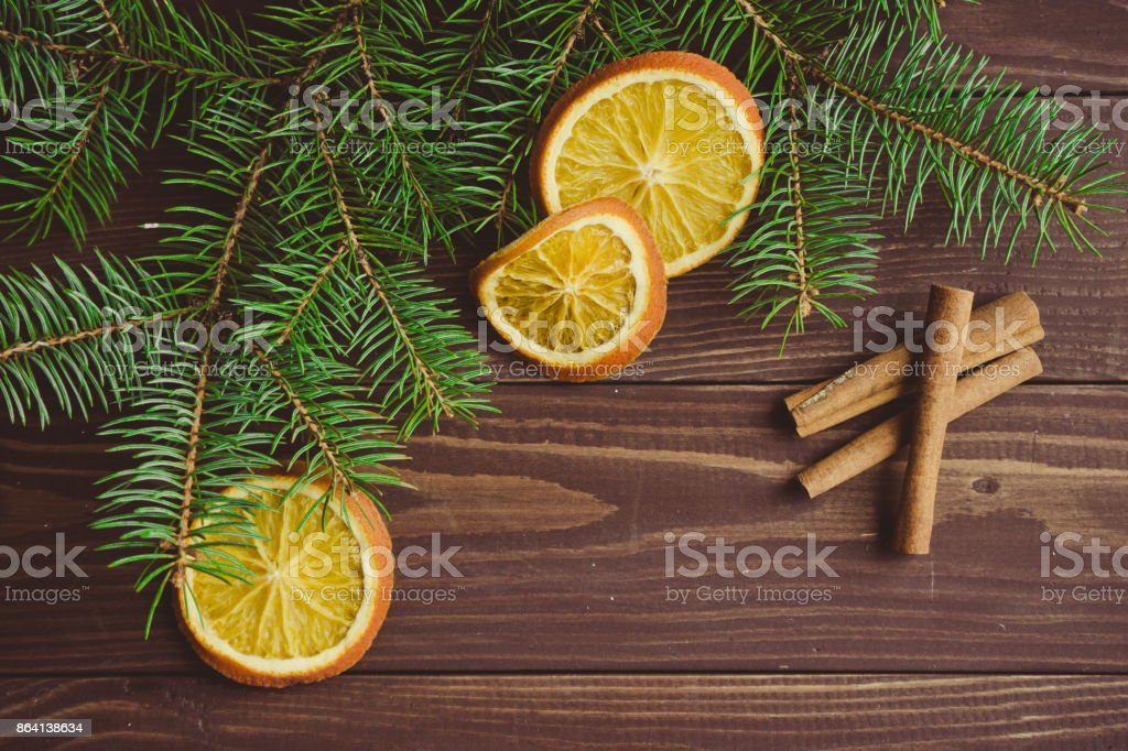 Christmas tree with dried oranges and cinnamon royalty-free stock photo