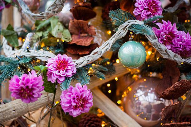 christmas tree with flowers stock photo