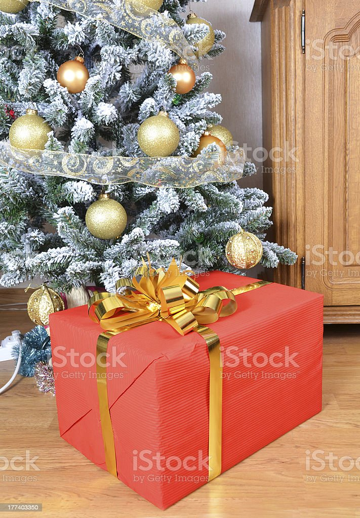 Christmas tree with gift box stock photo