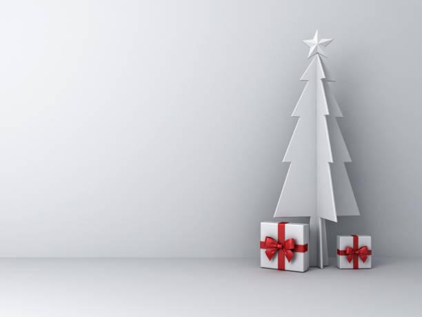 weihnachtsbaum mit geschenk-boxen auf weißem hintergrund für weihnachtsdekoration abstrakt mit schatten - popup cards stock-fotos und bilder