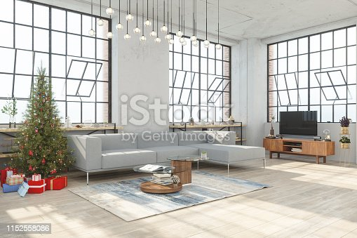 istock Christmas tree with gifts in Living Room 1152558086