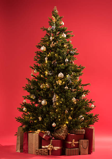 Christmas tree with gifts on red background full length stock photo