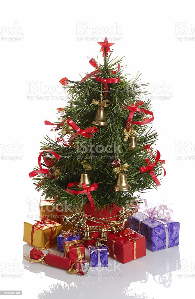 Christmas tree with gifts royalty-free stock photo