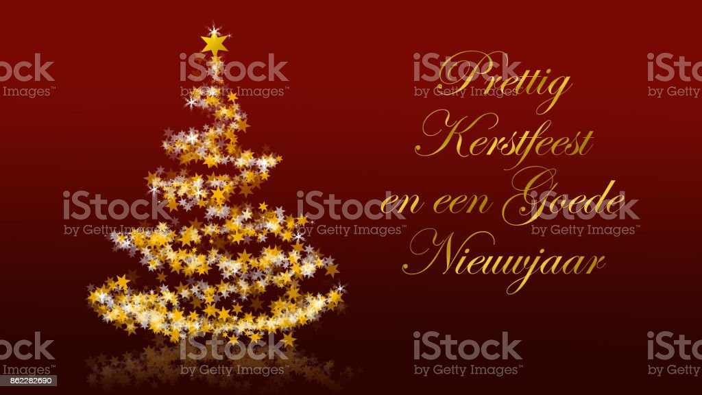 Christmas tree with glittering stars on red background dutch seasons christmas tree with glittering stars on red background dutch seasons greetings royalty free stock m4hsunfo
