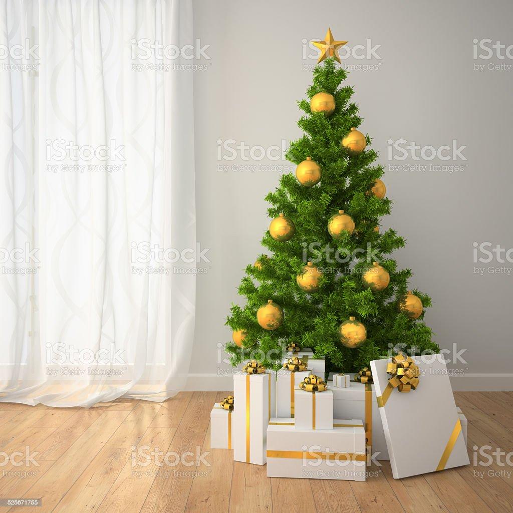 크리스마스 트리를 골드 실내 장식 선물 상자 스톡 사진 525671755 ...