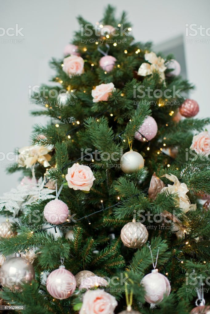Christmas Tree With Golden And Pink Decorations Stock Photo Download Image Now Istock