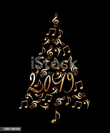 istock 2019 christmas tree with golden metal musical notes isolated on black background 1066186450