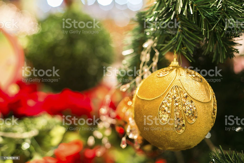 Christmas Tree with Golden Ornaments Close Up royalty-free stock photo