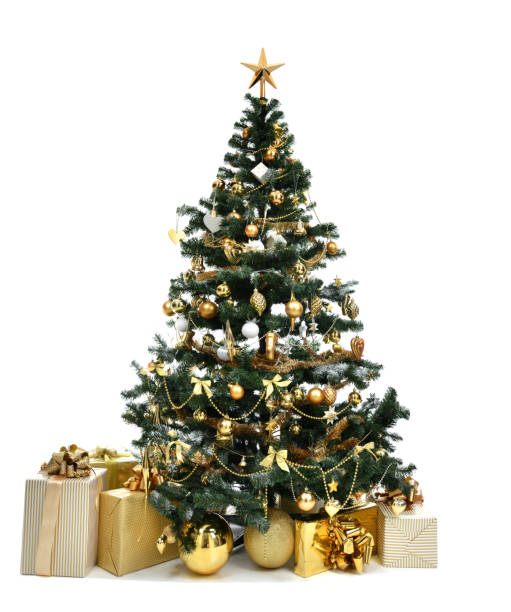 Christmas tree with golder patchwork ornament artificial star hearts presents for new year 2018 Decorated gold Christmas tree with golder patchwork ornament artificial star hearts presents for new year 2018 isolated on white background christmas trees stock pictures, royalty-free photos & images
