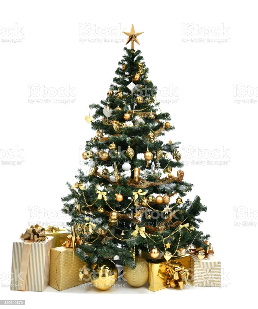 Beautiful Christmas Tree With Golder Patchwork Ornament Artificial Star Hearts  Presents For New Year 2018 Stock Photo