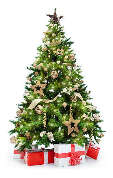 christmas tree with lights and gifts isolated on white - christmas tree bildbanksfoton och bilder
