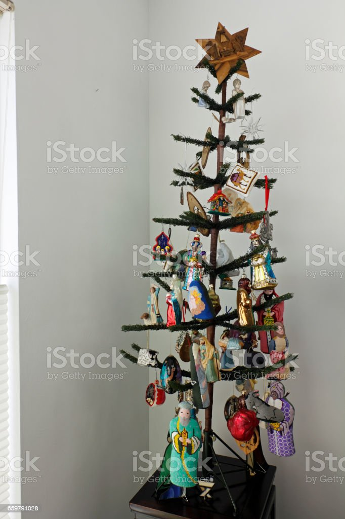 Christmas Tree With Nativity Theme Ornaments Stock Photo Download Image Now Istock