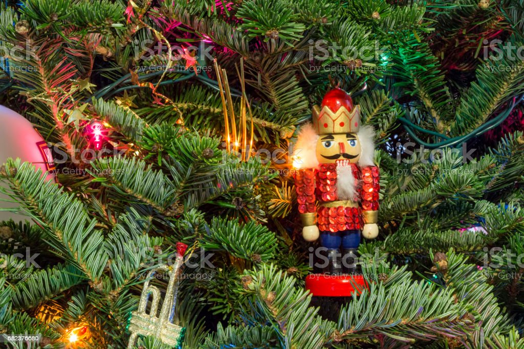 Christmas tree with nutcracker ornament royalty-free stock photo