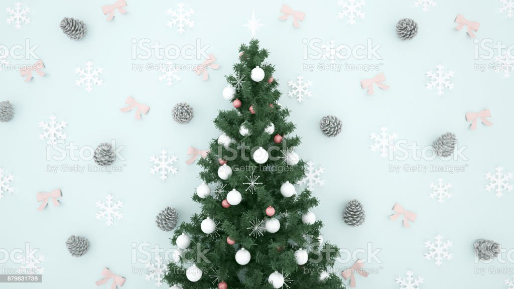 christmas tree with pine cone snowflake and ribbon on light blue background artwork for