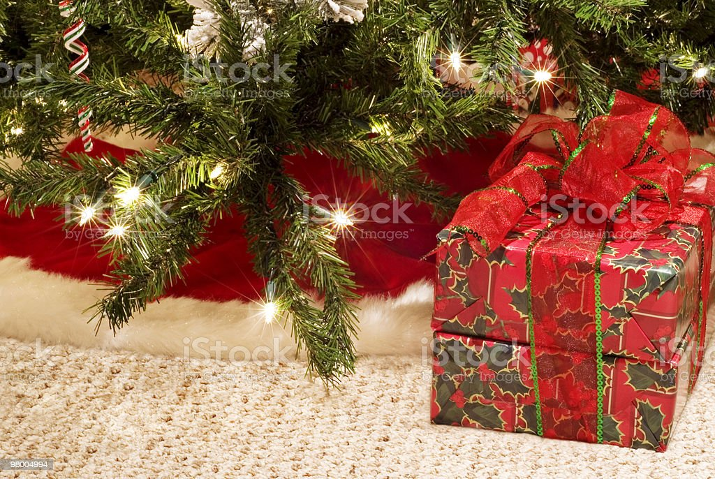 Christmas Tree with Present royalty free stockfoto