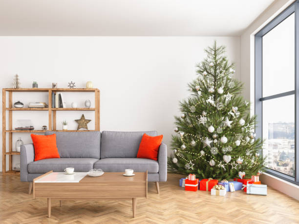 Christmas tree with presents and sofa Christmas tree with presents and sofa christmas interior stock pictures, royalty-free photos & images
