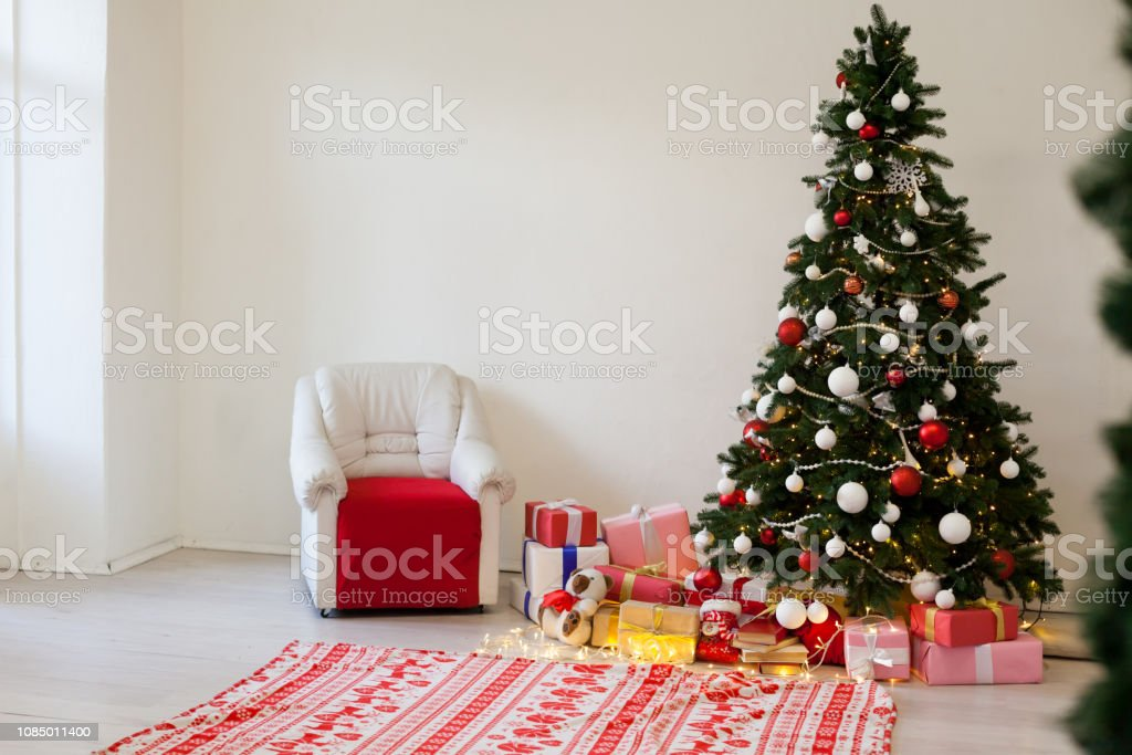 Christmas Tree With Presents.Christmas Tree With Presents Garland Lights New Year Holiday Decor Stock Photo Download Image Now