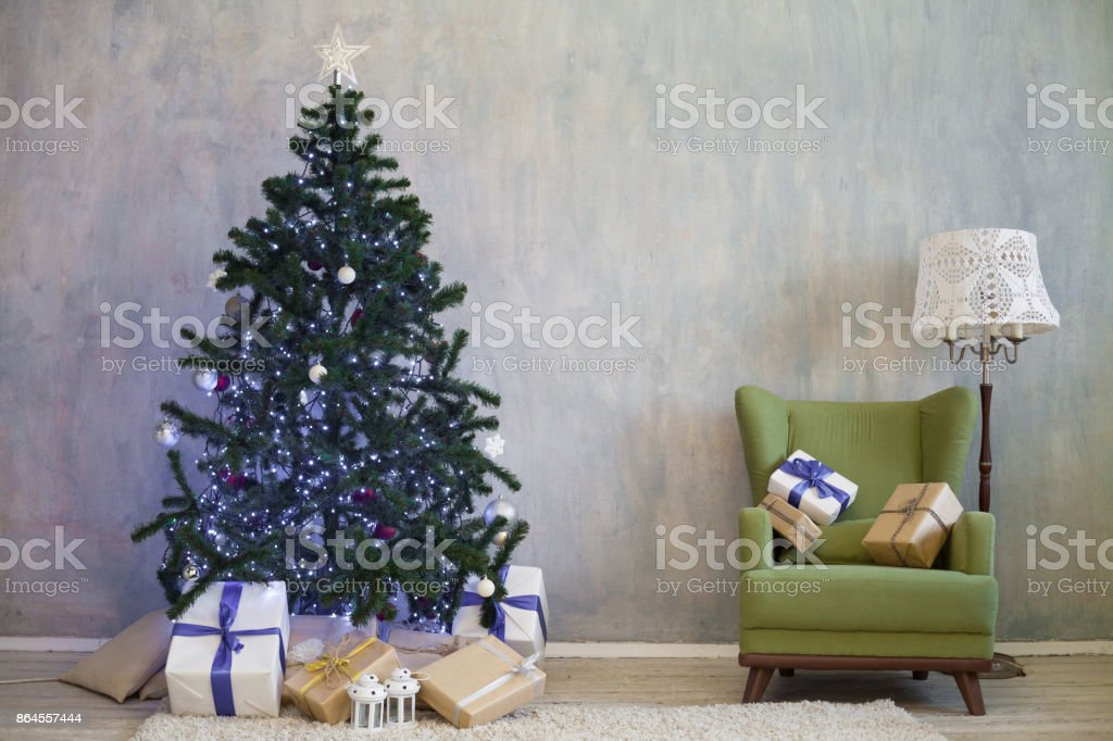 Christmas Tree With Presents Home For The New Year Stock Photo