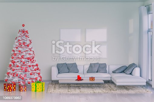 istock Christmas Tree With Presents In A Scandinavian Home 1069373952