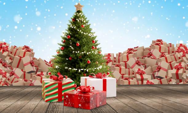 Weihnachtsbaum mit Geschenken auf Holzboden vor Winterhintergrund mit Masse der gelieferten Pakete 3d-Illustration – Foto