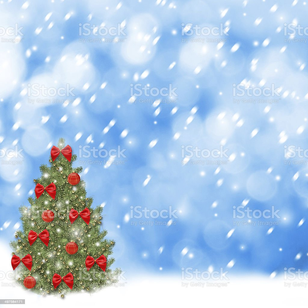 Schleifen Weihnachtsbaum.Weihnachtsbaum Mit Roten Kugeln Und Wunderschönen Schleifen