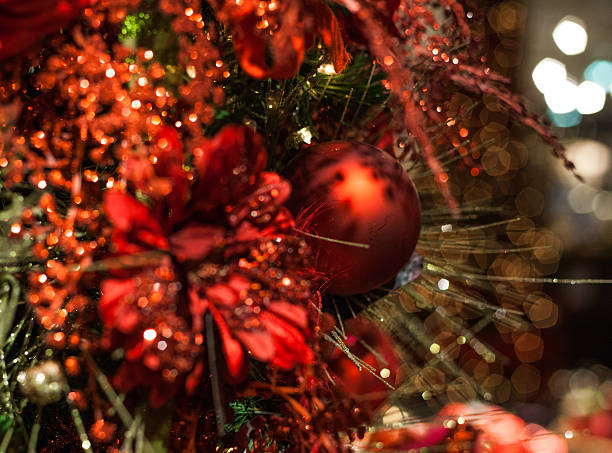 christmas tree with red decoration stock photo