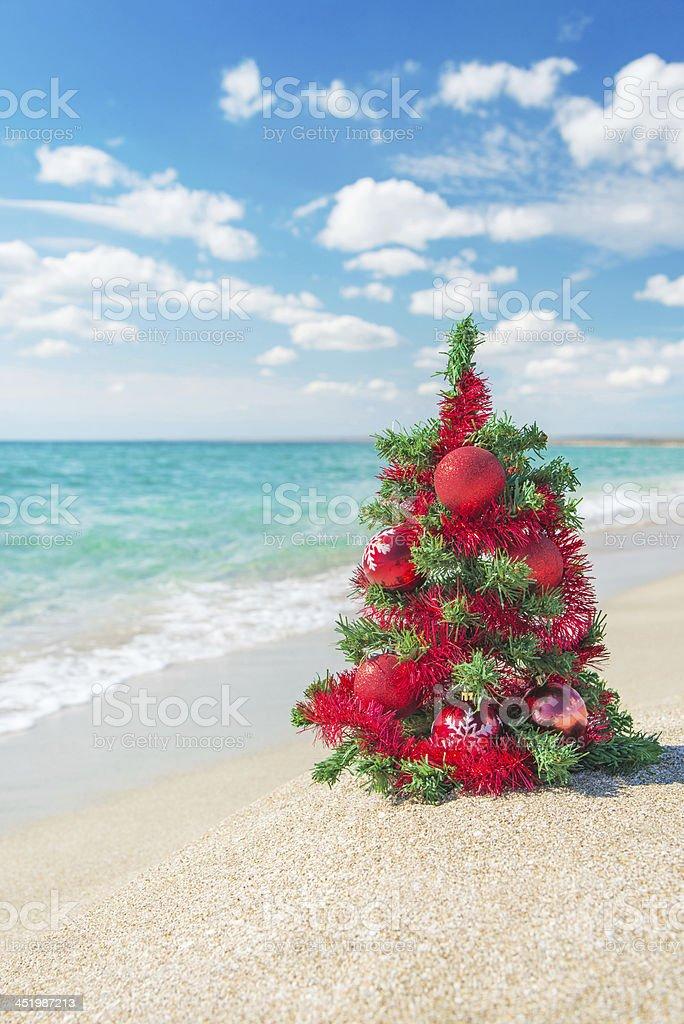 Weihnachtsbaum Mit Roter Dekoration Auf Das Meer Und Am Strand Stock