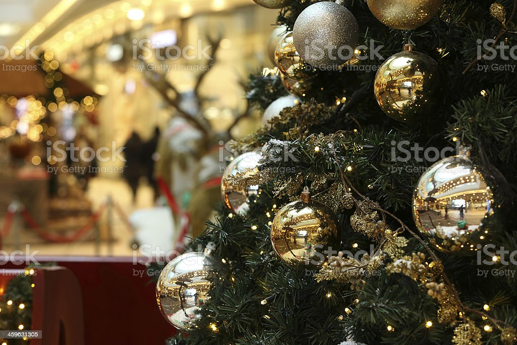 Christmas Tree With Silver And Gold Decorations Stock Photo