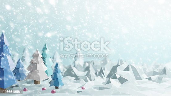 1166441358 istock photo Christmas tree with snow falling in the winter low poly 3D render 1166618581
