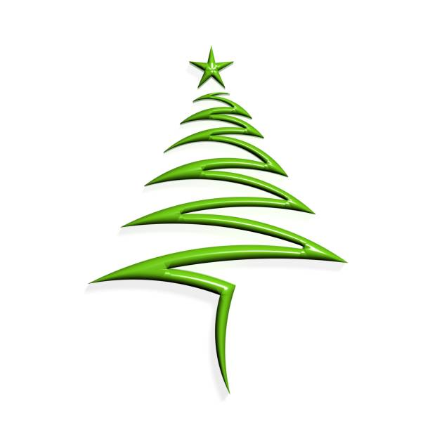 christmas tree with star. 3d render illustration - wave icon stock photos and pictures