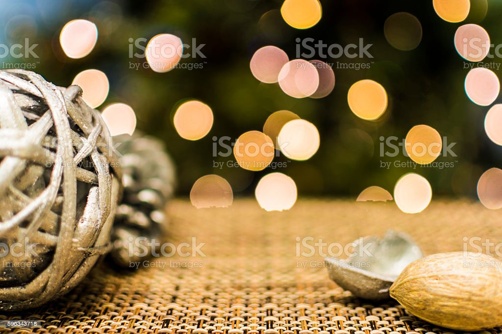 Christmas Tree with Traditional Wooden Ornaments royalty-free stock photo