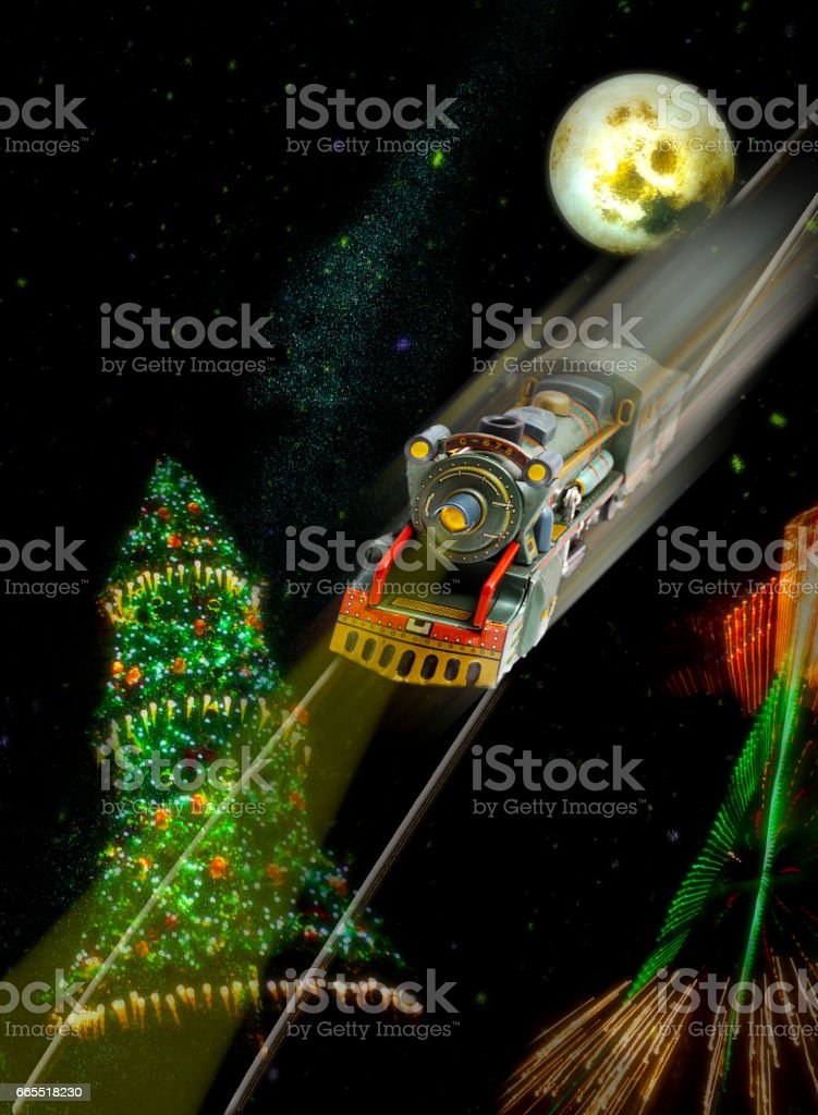 Christmas tree with train stock photo