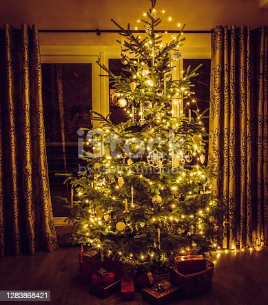 Christmas tree with warm yellow string lights and white icicles and snowflake shape ornaments. Red packed presents under the tree.