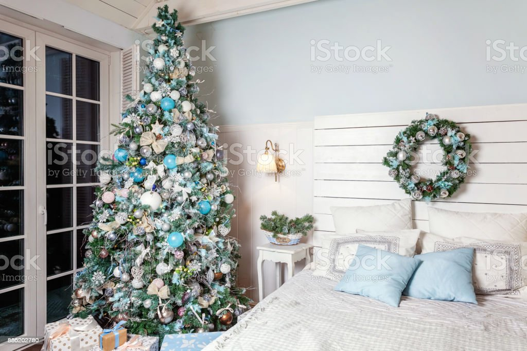 Christmas Tree With White Blue And Silver Decorations Stock Photo Download Image Now Istock